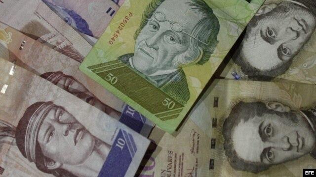 En la imagen billetes de bolívares venezolanos