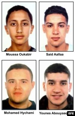 Los yihadistas detenidos: Moussa Oukabir, Said Aallaa, Mohamed Hychami y Younes Abauyaaqoub.