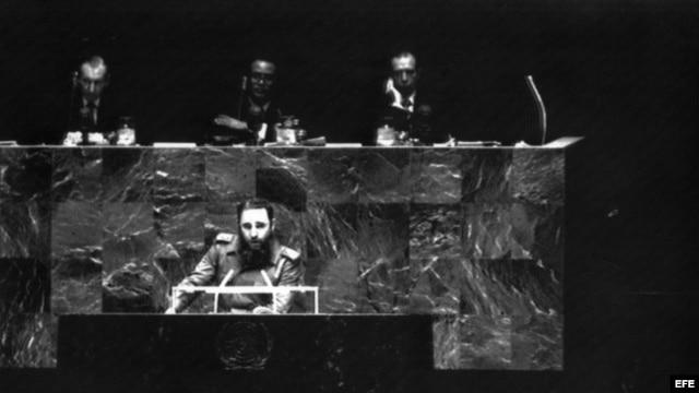 Fidel Castro durante su discurso ante la Asamblea General de las Naciones Unidas.
