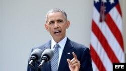 """El presidente de EEUU, Barack Obama, habla en una conferencia de prensa hoy, jueves 2 de abril de 2015, en la Casa Blanca, Washington, DC. Obama, consideró hoy que el pacto nuclear logrado por las potencias del G5+1 con Irán es """"un buen acuerdo"""" que """"cum"""