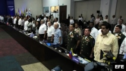 Extrema izquierda: El entonces canciller de Venezuela Nicolás Maduro asiste a la reunión de ministros de la Unasur en mayo de 2012 en Cartagena (Colombia).
