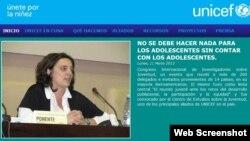 El sitio web de la representación de UNICEF en Cuba.