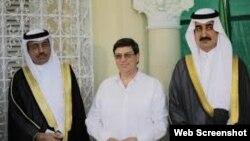 El canciller cubano Bruno Rodríguez, y diplomáticos saudíes. Archivo.