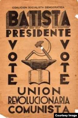 Pancarta de los comunistas a favor de Batista