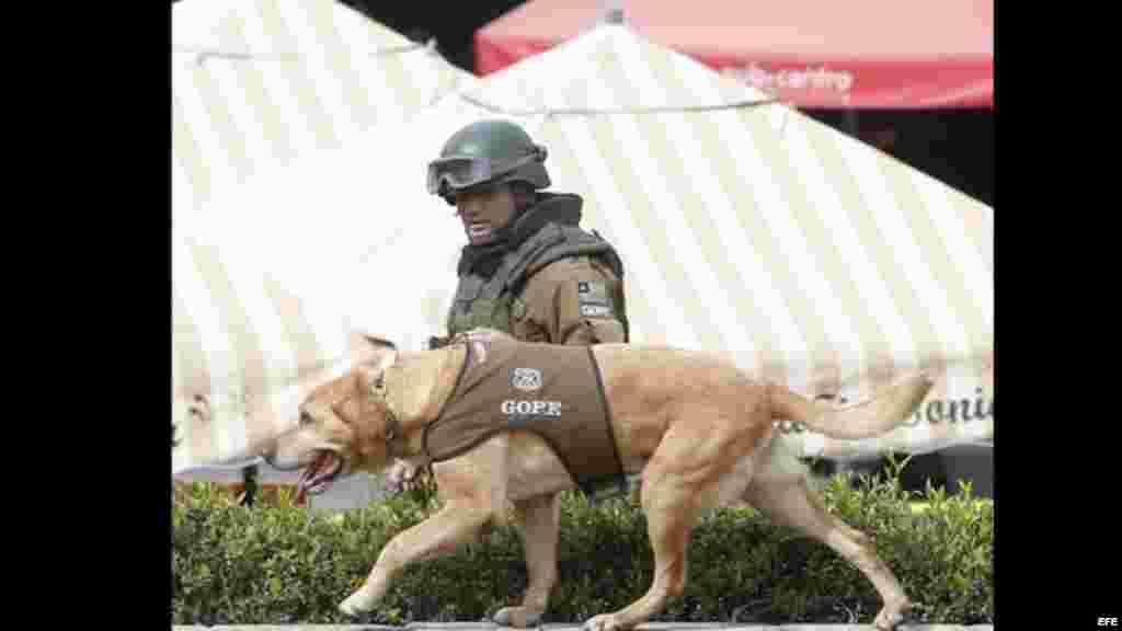 Un policía recorre con un perro adiestrado los alrededores de la estación del metro Escuela Militar