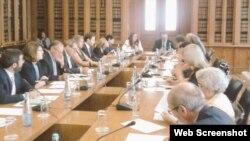 Parlamentarios portugueses en la audiencia solicitada por la embajadora cubana. (Foto: Twitter)