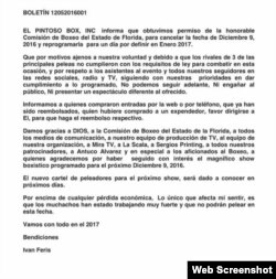 Mensaje de El Pintoso Box Inc.