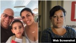 Augusto César San Martin, su esposa e hijo (Izq) y Adriana Zamora (Fotos tomadas de Cubanet y Diario de Cuba)