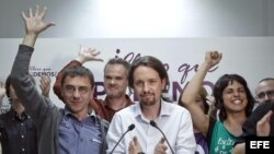 Pablo Iglesias, cabeza de lista de Podemos a las Elecciones Europeas (c).