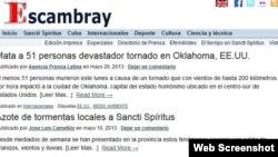 El periódico provincial reportó el tornado de Oklahoma pero aún no da información del de Potrerillo.