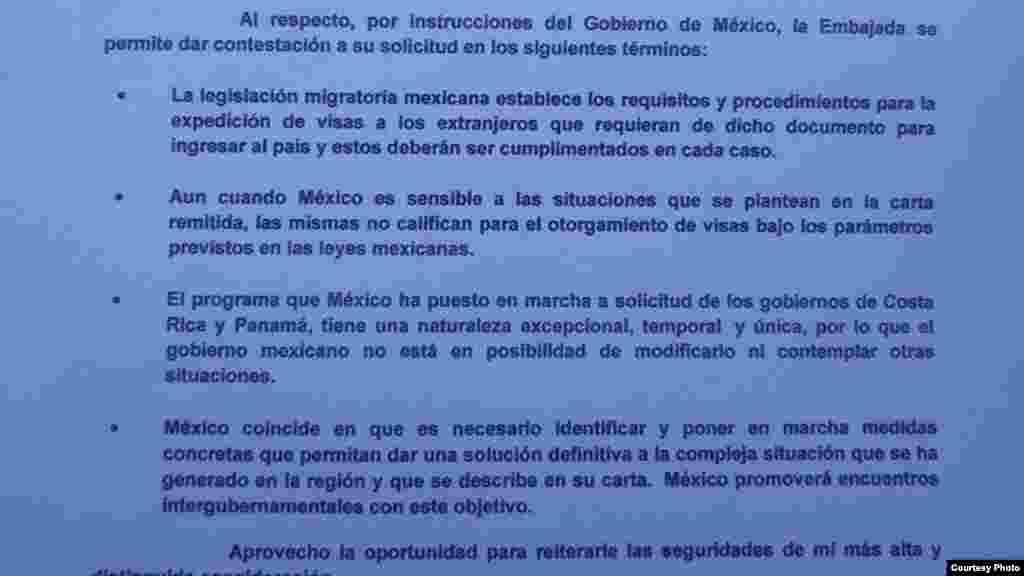 Documento de respuesta del Gobierno de México