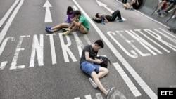 Manifestantes en Hong Kong.
