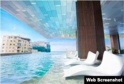 La piscina del Grand Packard, con vista al Malecón habanero y sus azoteas. (Iberostar)