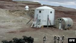 Simulacro de vida en Marte en la Estación de Investigación Desierto de Marte al noroeste de Hanksville, Utah, Estados Unidos, en 2006.