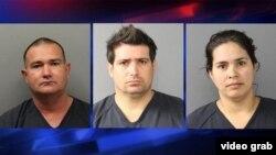 De izquierda a derecha Elio Hernández Delgado, Eladio Ponce Hernández, y Anailí García Toledo, arrestados en Colorado por cultivo ilegal de marihuana (KRDO)