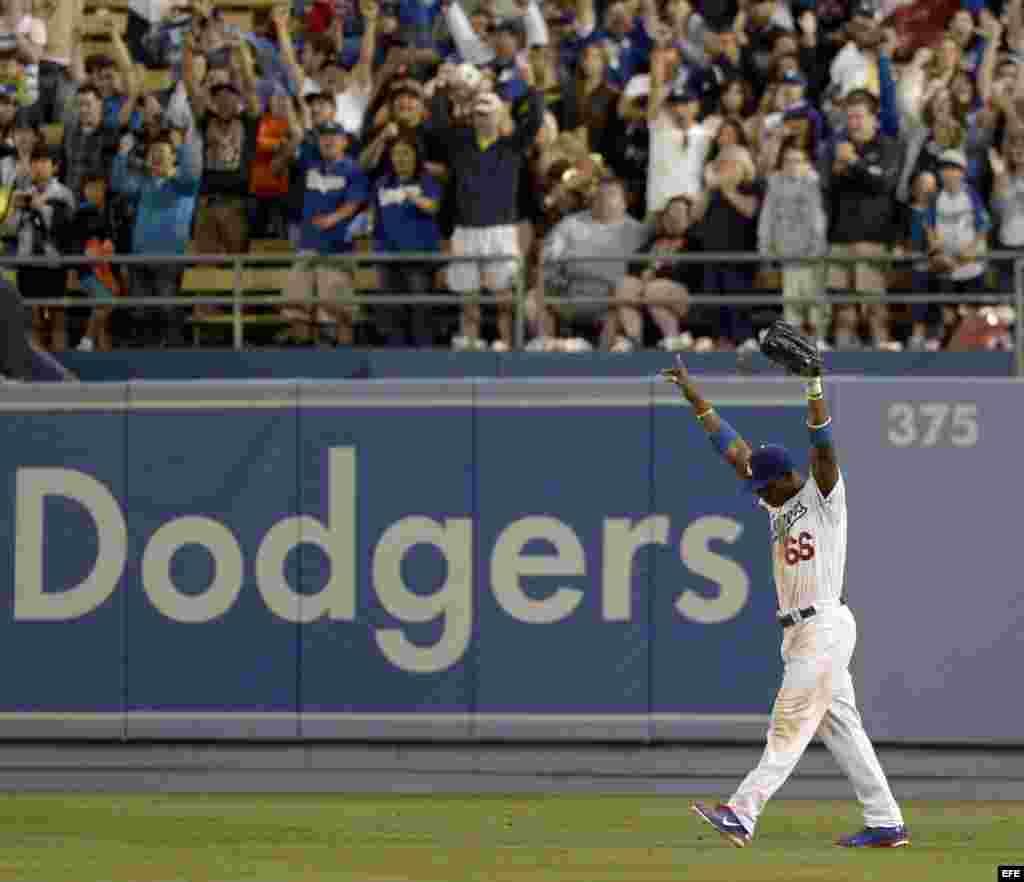 El jardinero derecho de Los Ángeles Dodgers, Yasiel Puig.