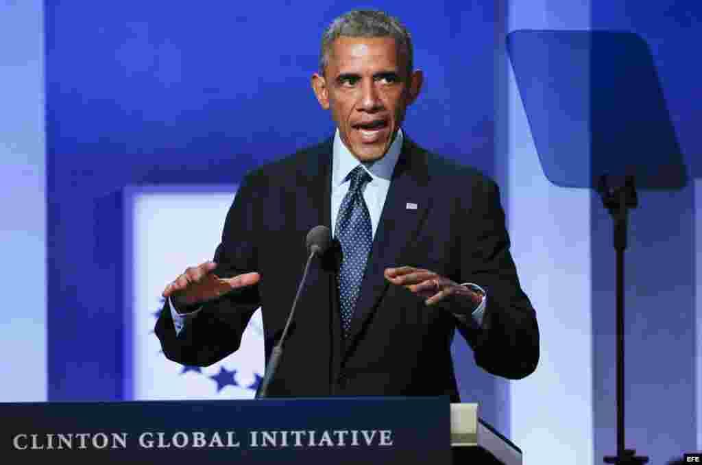 El presidente estadounidense, Barack Obama, habla durante un evento de la Iniciativa Global Clinton, en Nueva York (EE.UU.)