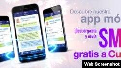 Cuballama promociona SMS gratis a Cuba desde su app.