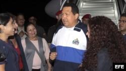 Chávez de regreso a Caracas.
