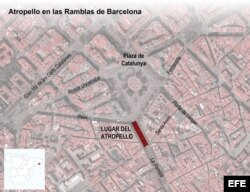 """Detalle de la infografía de la Agencia Efe """"Atropello en las Ramblas de Barcelona""""."""