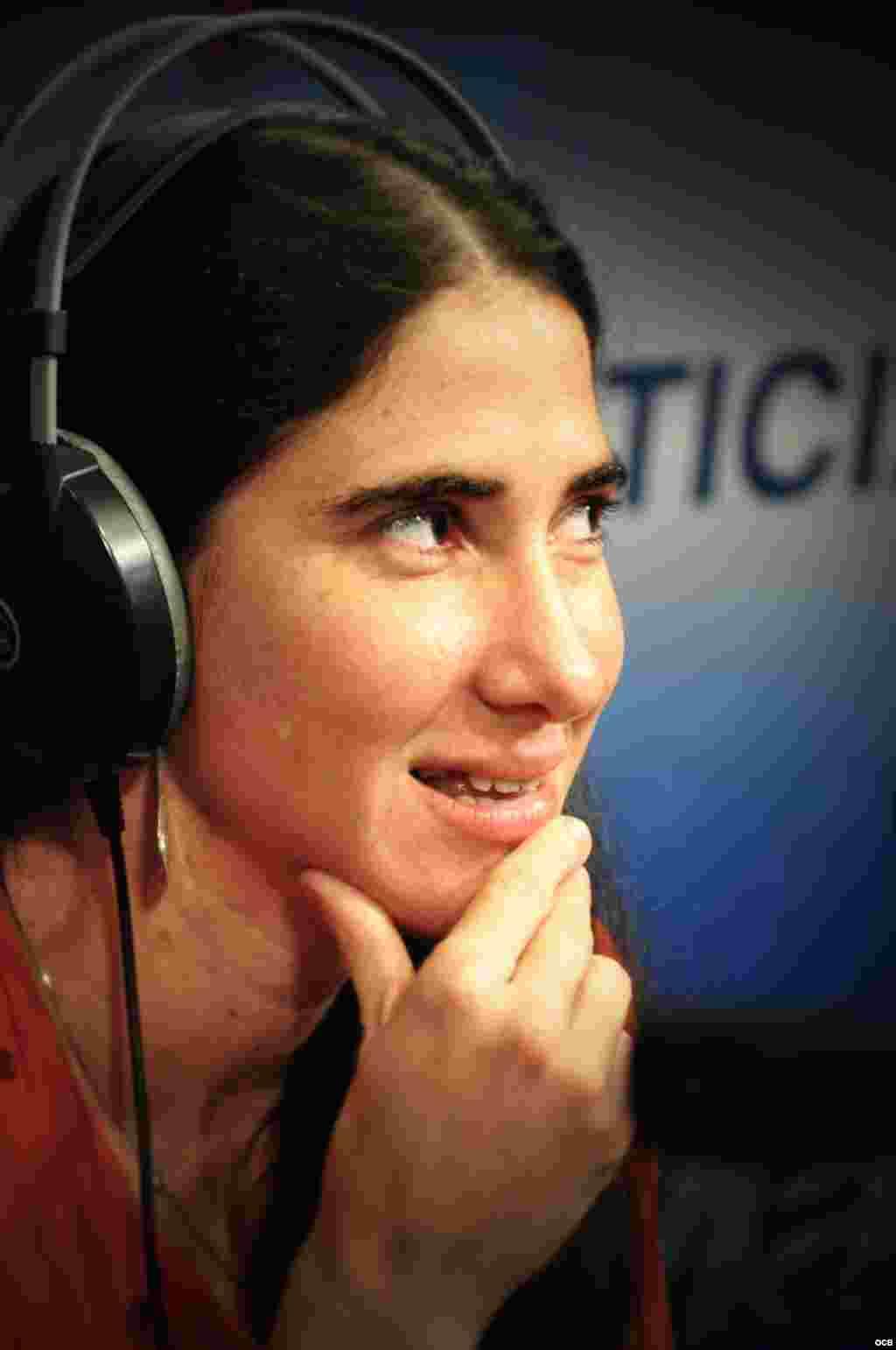 Blogger Yoani Sánchez on air at Radio Martí