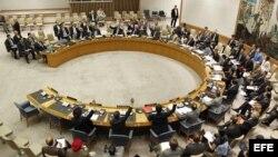 Una vista general del Consejo de Seguridad de la ONU mientras adoptan la resolución 2042 que autoriza el envío de 30 observadores internacionales para vigilar el cumplimiento del plan de paz por el gobierno sirio y la oposición. EFE/UN Photo/Paulo Filguei