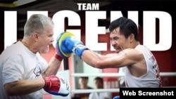 Pacquiao entrena para su pelea con Vargas.