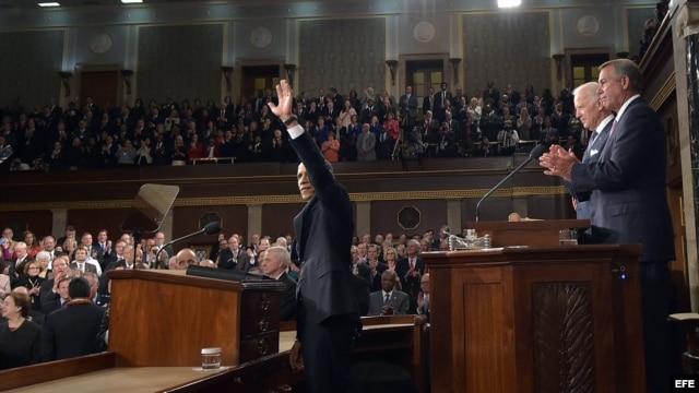 Barack Obama, momentos previos a su Discurso sobre el Estado de la Unión en la Cámara de Representantes, en el Capitolio, Washington.