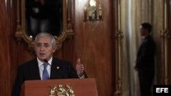 El presidente de Guatemala Otto Pérez Molina durante una rueda de prensa en la Casa Presidencial en Ciudad de Guatemala, Guatemala.