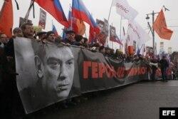 Manifestación en homenaje a Nemtsov.