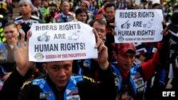 Manifestación en Filipinas por el Día de los Derechos Humanos.