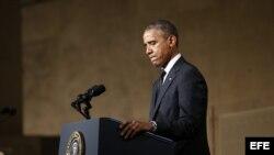 El presidente de Estados Unidos, Barack Obama, pronuncia un discurso durante la apertura del Museo de la Memoria, en el museo Memorial del 11S de la Zona Cero, en Nueva York, EEUU.
