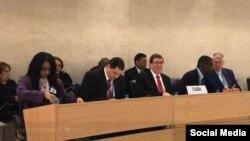 La delegación cubana encabezada por el canciller Bruno Rodríguez.