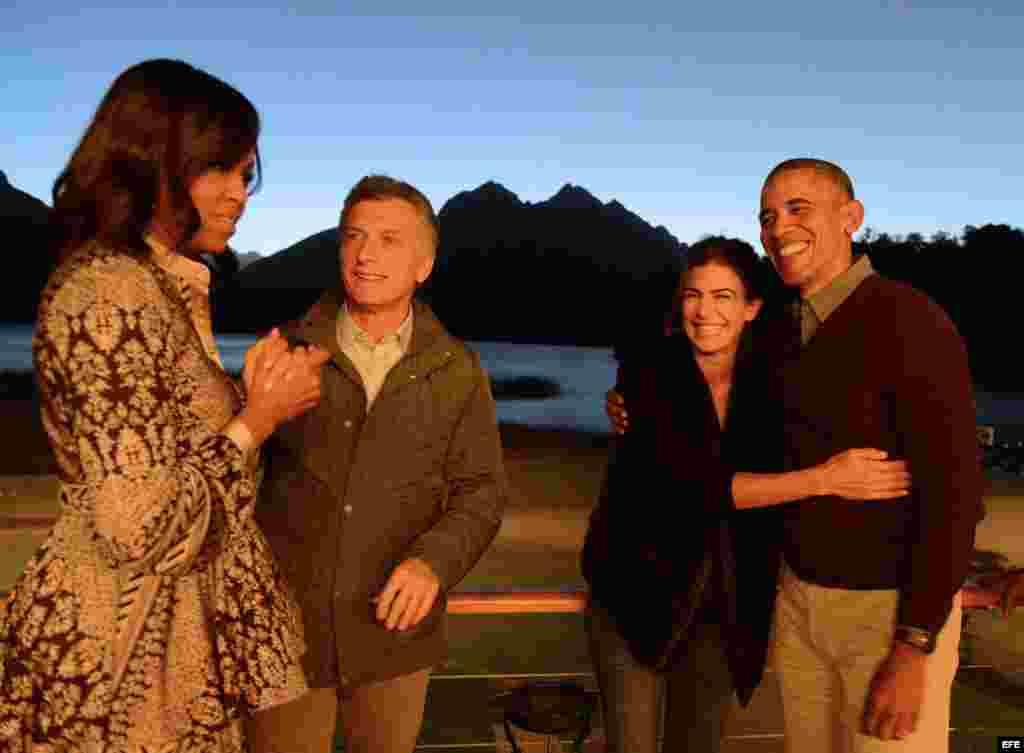 Michelle Obama, Mauricio Macri, Juliana Awada y Barack Obama en San Carlos de Bariloche.