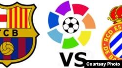 Escudos los equipos FC Barcelona y RCD Español.