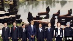 El primer ministro japonés, Yoshihiko Noda, el presidente indonesio, Susilo Bambang Yudhoyono, el sultán de Brunei, Hassanal Bolkiah, el presidente Barack Obama, el primer ministro camboyano, Hun Se, su homólogo chino, Wen Jibao, la primera ministra austr