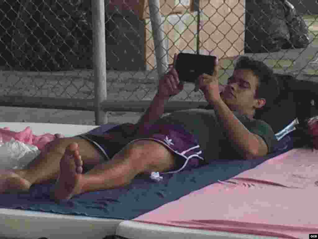 Cubano refugiado atento a las noticias desde su teléfono inteligente.