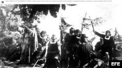 """""""Primer desembarco de Colón en América"""", reproducción del óleo de Dióscoro de la Puebla, de 1862."""