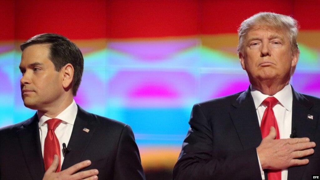 En el 2016, Marco Rubio y Donald Trump se enfrentaron en la campaña presidencial por el Partido Republicano .
