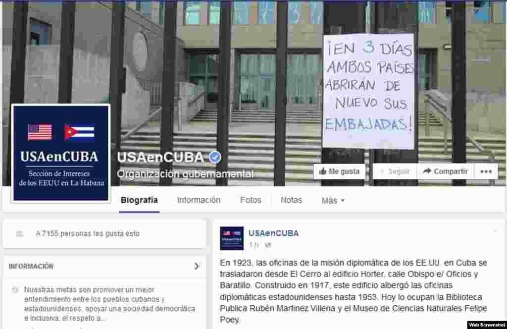 Imagen de la página de Facebook de la SINA dando a conocer la apertura de embajadas.