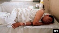 Fotografía de archivo de un paciente de cólera.