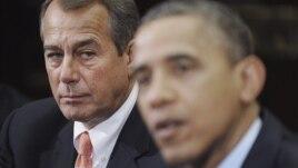 16 de noviembre de 2012: El presidente Obama, ante la mirada atenta del presidente de la Cámara de Representantes, el republicano John Boehner, expresa su confianza en un proceso fructífero para evitar el precipicio fiscal