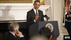 """El presidente estadounidense Barack Obama pronuncia un discurso durante la reunión de la Asociación Nacional de Gobernadores en la Casa Blanca, Washington, EEUU, el 25 de febrero del 2013, en el que pidió al Congreso un """"compromiso"""" para evitar drásticos"""