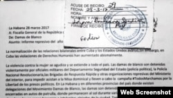 Carta entregada por las Damas de Blanco en la Fiscalía General de la República