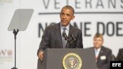 Barack Obama durante su visita a la Convención de Veteranos de Guerra en Pittsburgh, Pennsylvania.