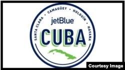 El logo de JetBlue que promociona los viajes a Cuba.