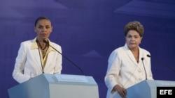 Las candidatas presidenciales brasileñas Marina Silva (i), del Partido Socialista Brasileño (PSB) y Dilma Rousseff (d), del Partido de los Trabajadores (PT).