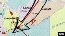 Detalle de un mapa que muestra la frontera entre Colombia y venezuela