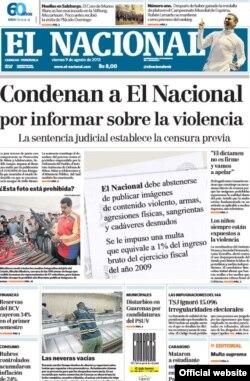 Portada de El Nacional
