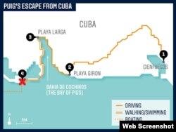 Mapa con el itinerario de Puig y sus compañeros desde Cienfuegos hasta el punto de encuentro con los traficantes de personas (ESPN Mag)..